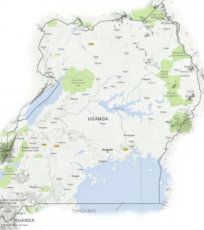 Landkarte Uganda