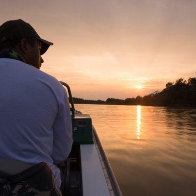Sonnenaufgang über dem Pantanal - der Weg zu den Jaguaren.
